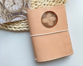 A6 leather journal cover with see through window dried hydrangea flower