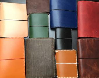 Traveler's notebook and journalcover passport size, regular size or custom size handmade full grain, vegetable tanned leather, many colors