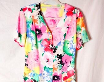 Vintage colourful floral button up midi dress