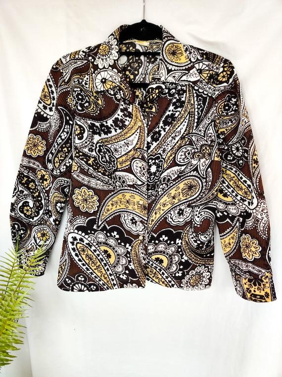 1990s Vintage Brown Beige /& Purple Floral Paisley Open-Front Jacket 20 UK Size 16 US Crunch Pleated Long Blazer