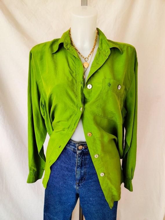 Vintage bright green silk shirt
