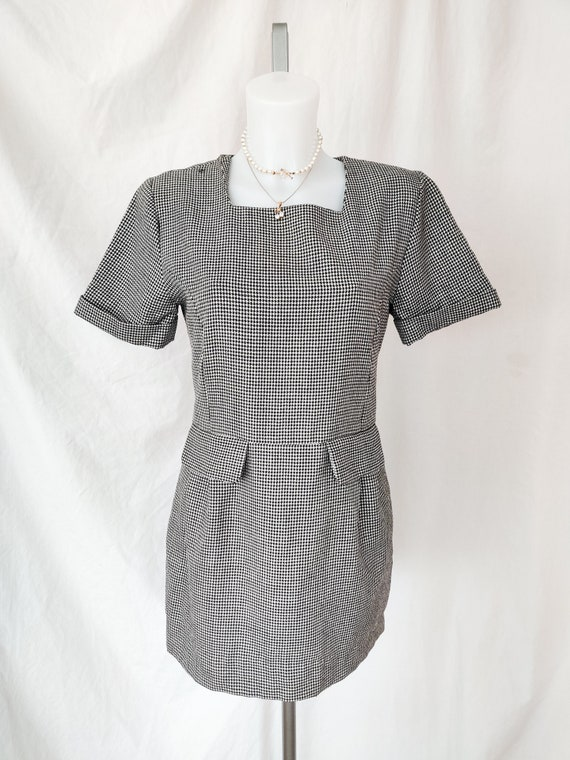 Vintage square neck houndstooth dress