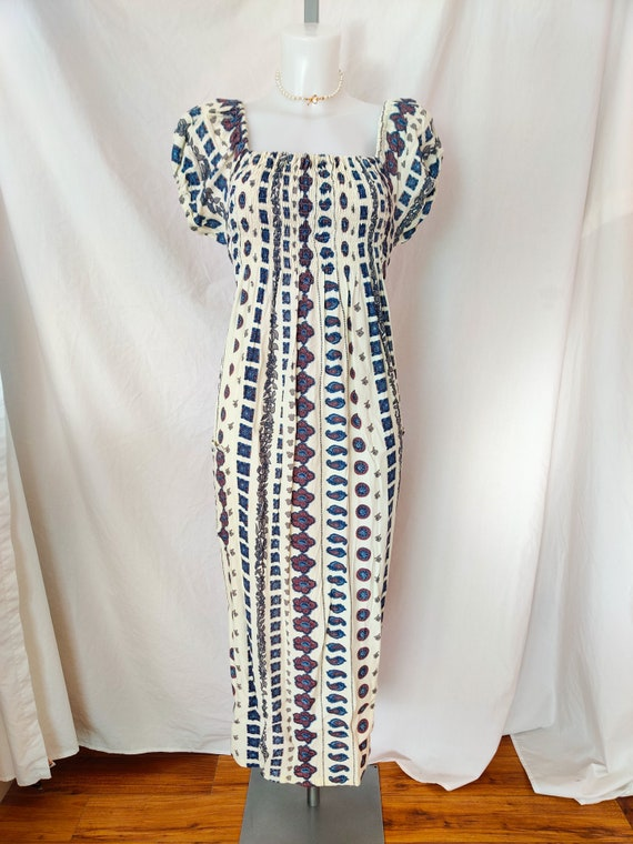 Vintage puff sleeve maxi dress