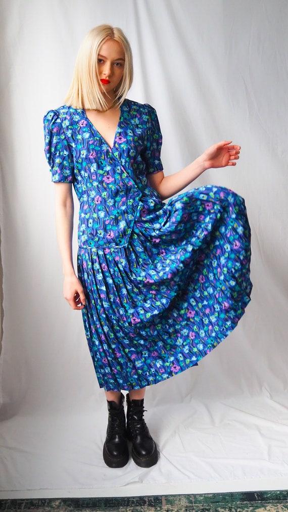 Vintage 1980's blue floral Co-ord