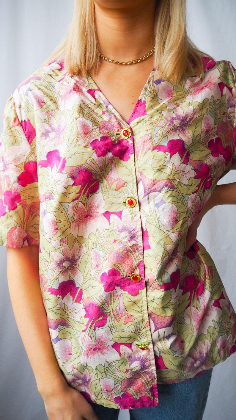 Vintage floral deep v blouse