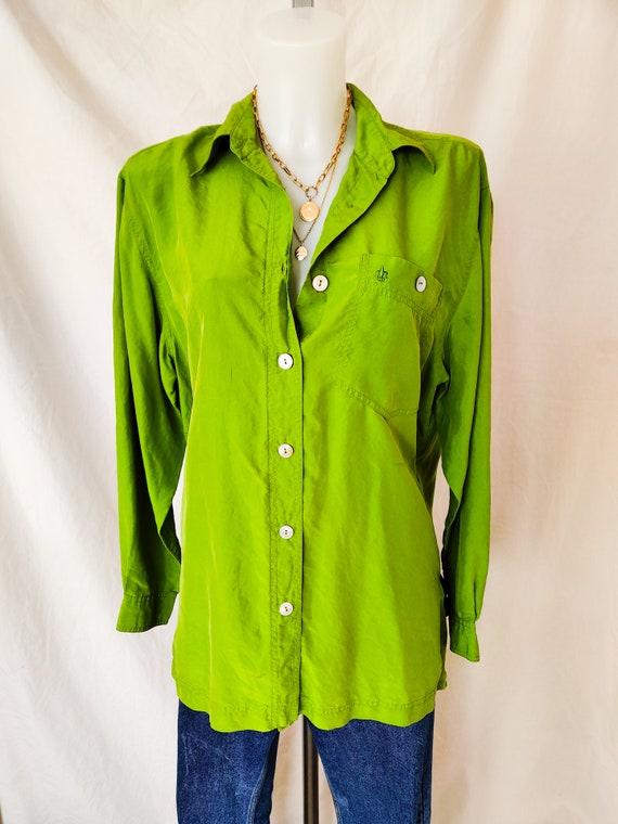 Vintage bright green silk shirt - image 2
