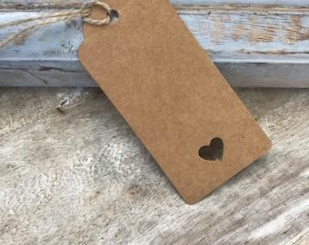 Rustic Kraft Heart Tags - brown card gift tag, wedding tags, cut out heart tags, rustic place cards,