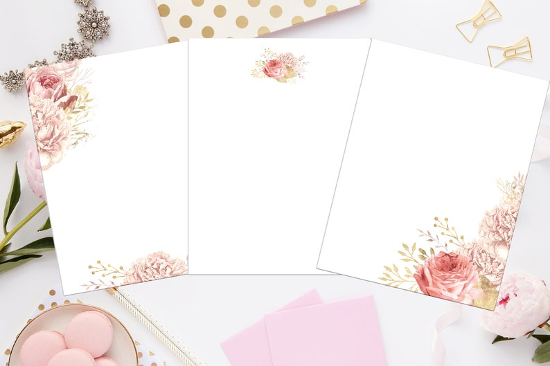 Letter Writing Printable Paper Stationary Watercolor Dandelion Stationery Lined and Unlined Digital Download