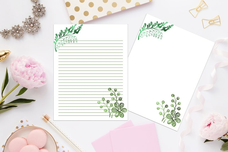 Whimsical Botanical Printable Stationery 8.5x11 644Digital PaperPrintable PaperInstant DownloadDigital Lined PaperPrintable Stationery