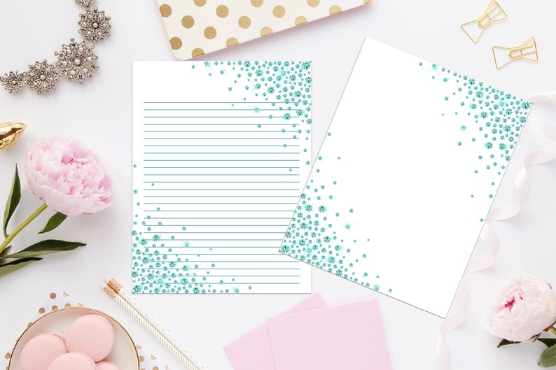 Green Glitter Sprinkle Printable Stationery 8.5x11 439Digital Note PaperPrintable PaperInstant DownloadNotes PagesWriting Paper