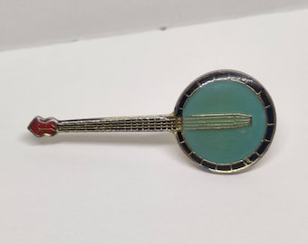 Banjo vintage enamel pin badge.