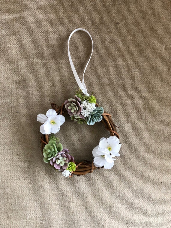 3 inch grapevine wreath with faux succulents l One-Of-A-Kind Succulent Wreath Ornament