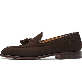 e9d0ba013f8 Handmade Women s Genuine Dark Brown Suede Loafers   Slip Ons Moccasins  Formal Tassles Shoes