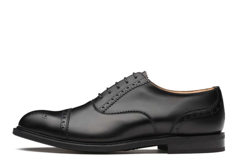 638f8f0c458 Handmade Men Black Oxford Brogue ShoeOxford Wingtip