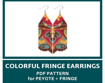 Colorful fringe earrings bead pattern for PEYOTE or BRICK STITCH