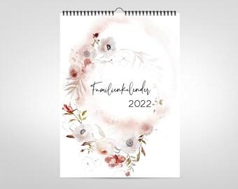 A4 Family Calendar 2022 / Wall Calendar / Planner 2022 / Family Planner 5 Persons / Spiral Binding