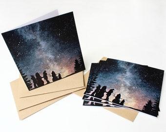 Pack of 10 Snowmen Galaxy Christmas Cards /  Original Card Design /  Galaxy Watercolour Art