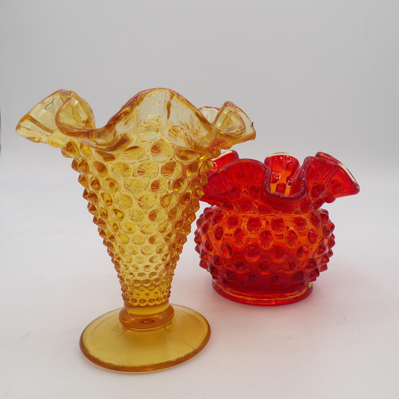 Vintage Amberina Hobnail Pedestal Bud Vase