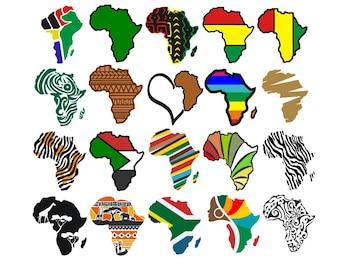 Africa map design pack Silhouette, Cricut,Cut Files, Jpeg, SVG, EPS, PNG, clip art