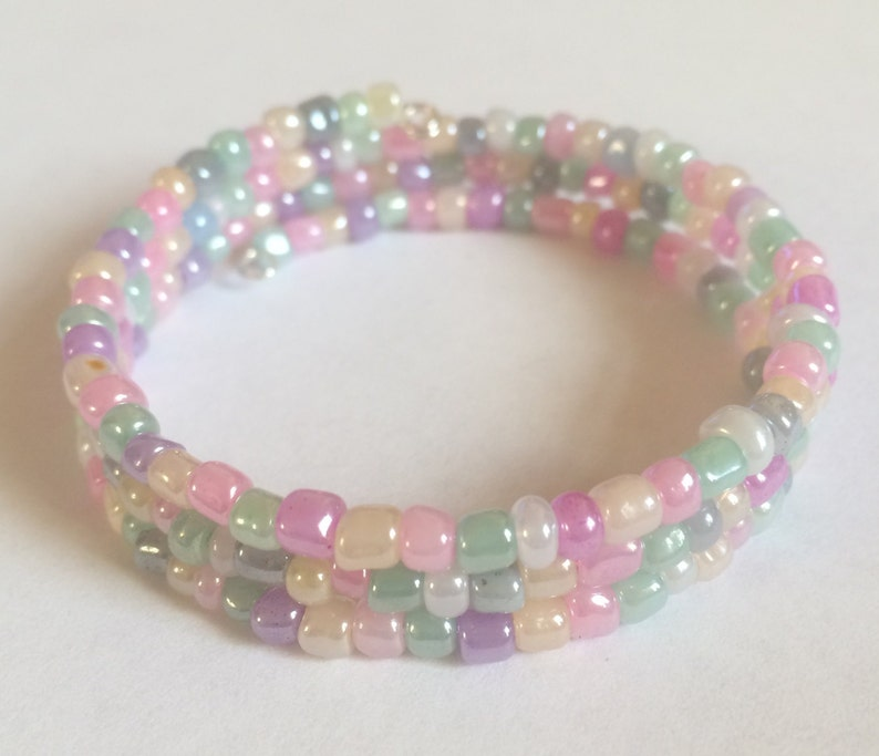 3 Coil Multi Coloured Pastel Shade Glass Seed Bead Memory Wire Bangle Bracelet