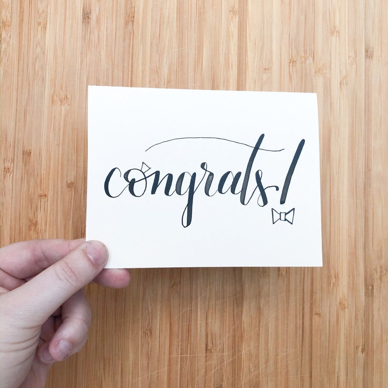 Wedding /& Engagement Card Hand Lettered Calligraphy