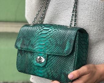 elegant small classy bag crossbody genuine leather bag Genuine python skin crosdbody chain tassel bag everyday elegant small bag snake