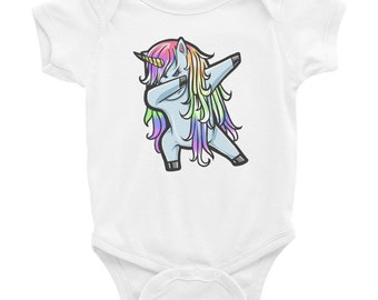 Unicorn Cute Dabbing Funny DAB Dance Gift Onesies Jumpsuit as picture24 Months