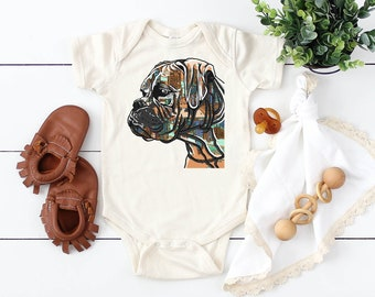 4dc831117 Boxer Dog Infant Bodysuit - Colorful Boxer Dog Baby Tee - Boxer Bodysuit  Gift for baby