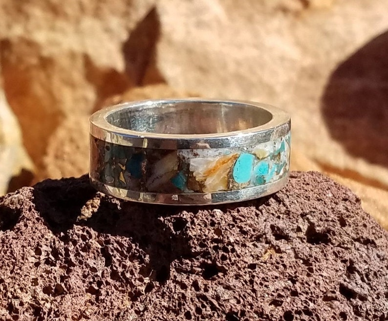 Sterling Silver 8mm Ring Turquoise Ring Inlaid Turquoise Spiny Oyster and Bronze Ring