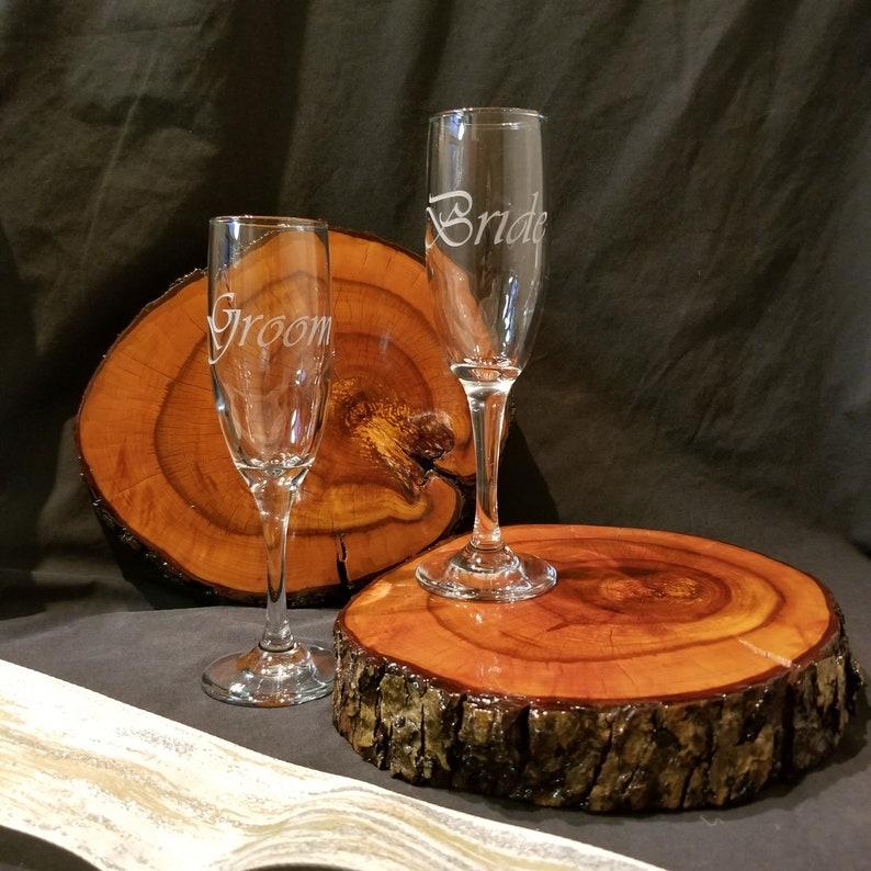 BridalWedding Gifts Bride or Groom design Wedding Champagne Flutes