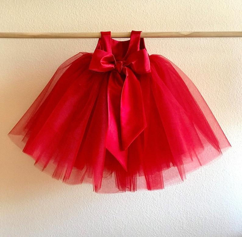 Red Tulle Flower Girl Dress   Flower Girl Dresses, Red Tulle Tutu Wedding Dress for Baby Toddler Flower Girl   2T 3T 4T 5 6 7 8 10 12