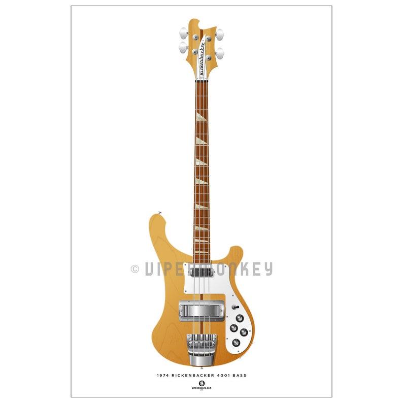 1974 Rickenbacker 4001 Guitar Art Poster