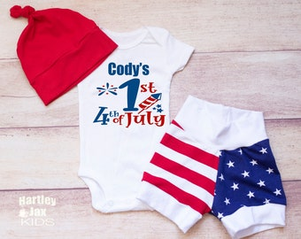 Baby Boy Coming Home Outfit Buffalo Plaid Red and Green Leggings with Hat Baby Boys First Christmas Personalized Boys Christmas Bodysuit