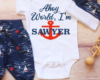 a7a73f8e1 Nautical Newborn Outfit/ Baby Boy/ Personalized Coming Home/ Baby Boy Hat /  Navy Blue Newborn Baby Gift / Anchor Baby Boy Outfit