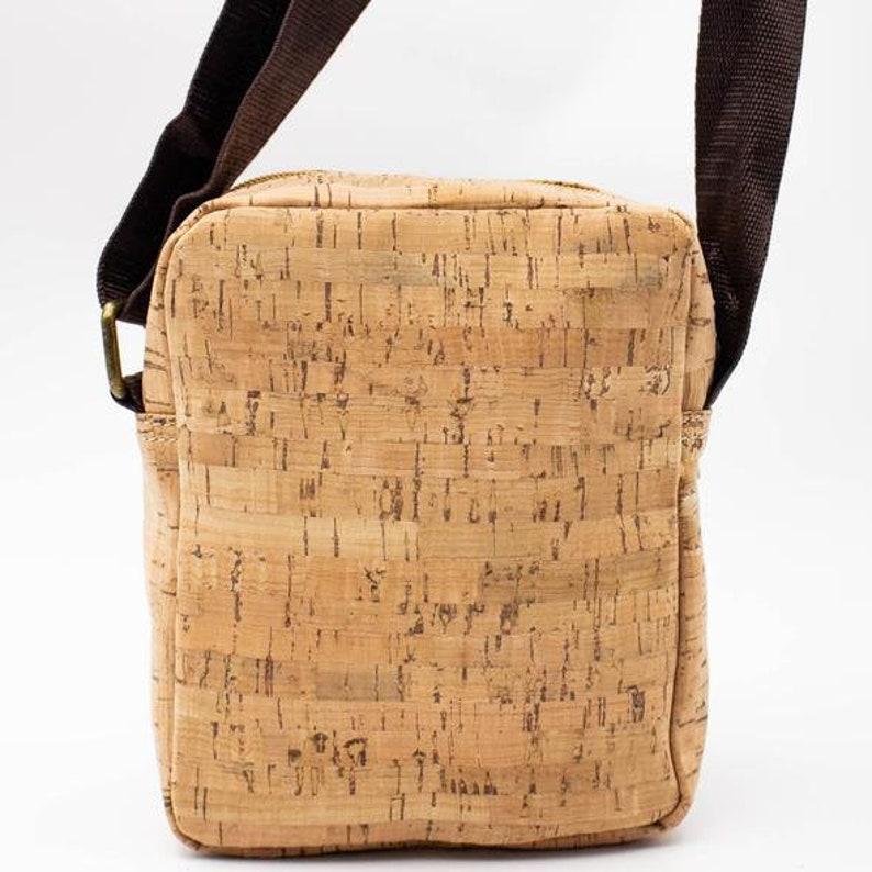 Natural Crossbody Zipper Man Cork Vegan Bag
