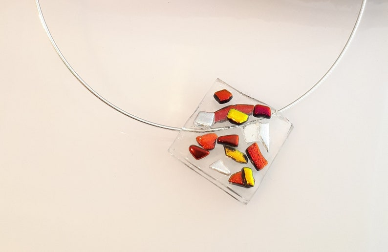 Glass Necklace and Earring Set matching necklace and earrings Gift for Women Modern Jewelry Set Under 150 Handmade Jewelry Set