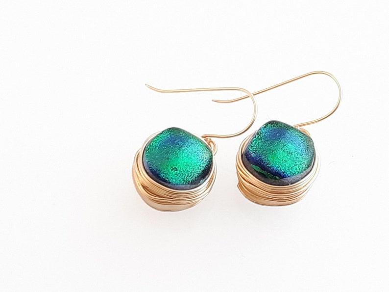 Iridescent Earrings Striking Green Dichroic Glass Earrings