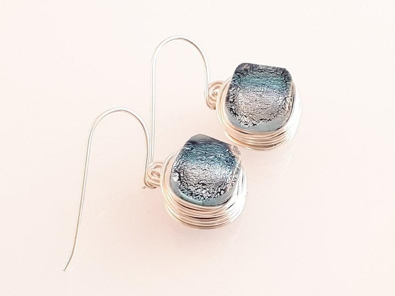 Bridesmaid Earrings Dichroic Silver Wire Wrapped Earrings Dangle Hook Earrings,Fused Glass Earrings Space Heady trippy jewelry
