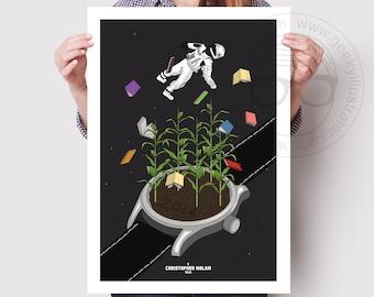 Interstellar- Movie poster print, Minimalist art, Sci fi poster, Space art, Interstellar print, Christopher Nolan gift