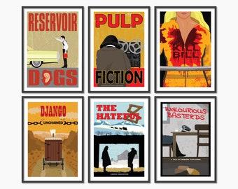 Tarantino movie poster collection // Film print set of 6 // Retro wall art // Tarantino print bundle