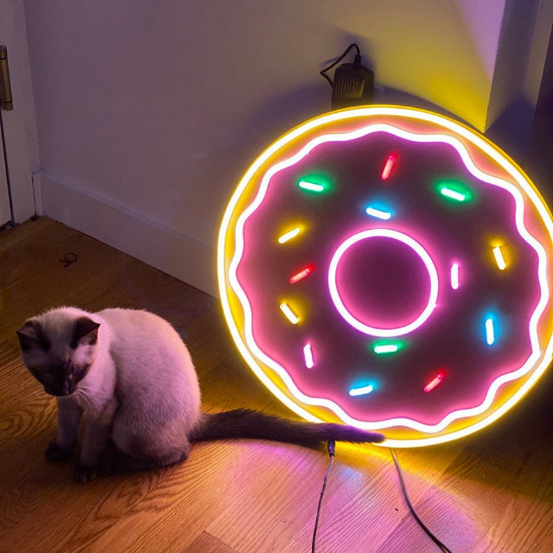 Donut Multicolored Unbreakable Neon Sign Night Light image 0