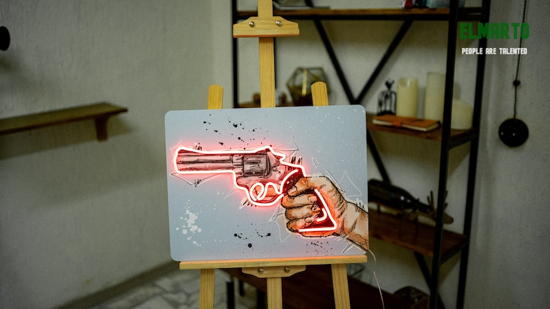 Unbreakable Neon Sign The Gun Poster with Neon Inserting