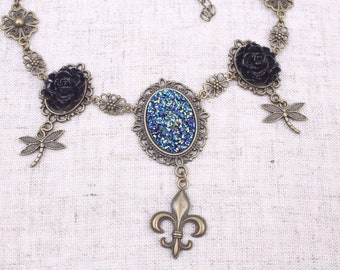 Art Nouveau Necklace, Steampunk, Vintage Style, Dragonfly, Lily, Fantasy, Wedding, Necklace, Roses, Glitter