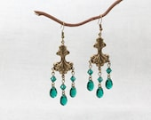 Chandelier Earrings - Vintage Style - Art Nouveau - Crystals