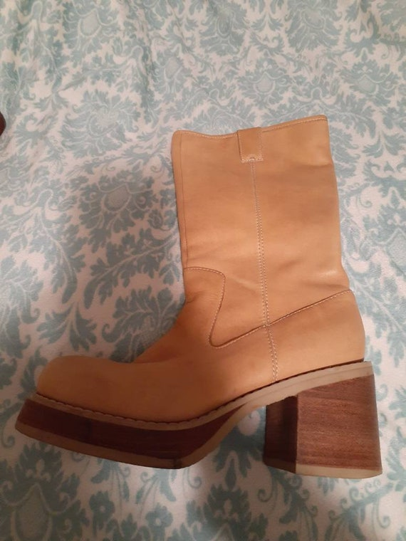 1990's Vintage Candie's Camel Leather Chunky Boots
