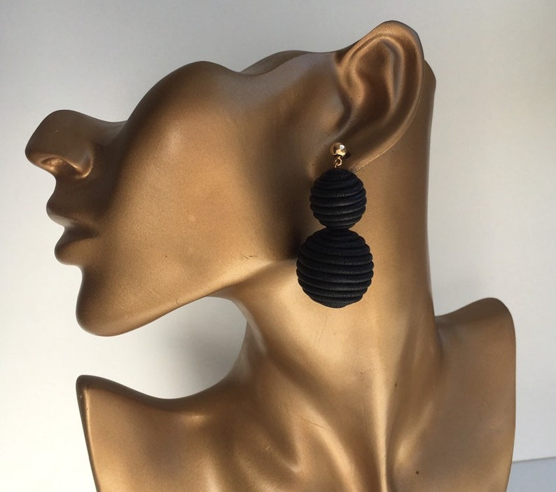 Oversize earring geo Black double balls earring golden studs Statement round hollow inside catching coiled coil Rockabilly chunky cluster