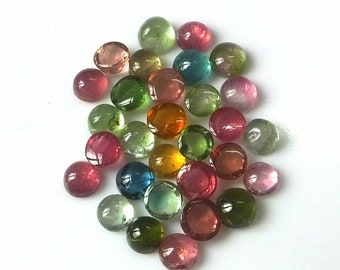 30 Pieces 4 MM Round Shape Natural Multi Color Tourmaline Cabochon Wholesale Loose Gemstone Lot Untreated Multi Color Tourmaline Cabs