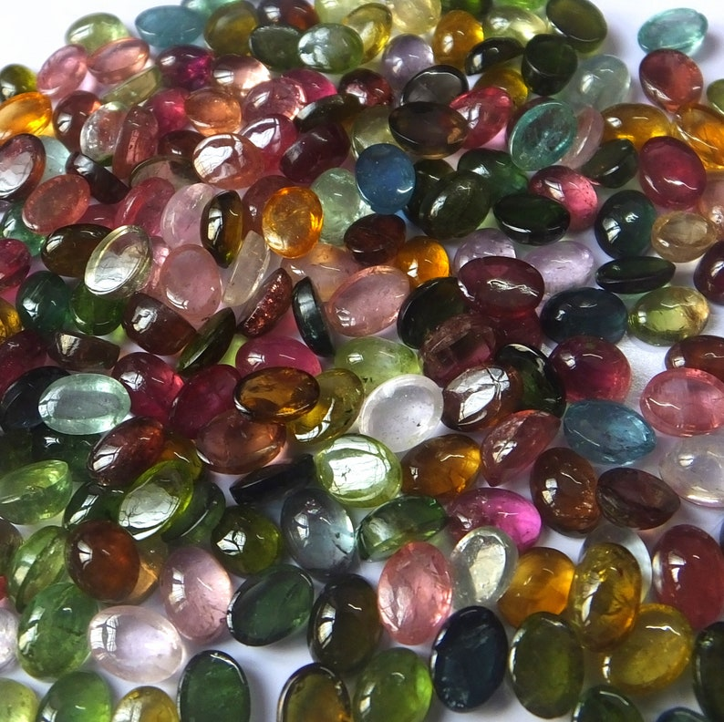 7X5 MM Oval Shape Natural Untreated Multi Color Tourmaline Cabochon Wholesale Loose Gemstone Lot Multi Color Tourmaline Cabs
