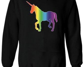 Licorne arc en ciel coloré cheval LGBT hommes femmes dames Sweat à capuche  unisexe pull hiver 1965 6c427a32c771