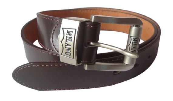 Brown or Black, Sizes 32-48 Mens Milano 1 Leather Belt//Trouser Suit Belt in Brown or Black with Silver Colour Buckle